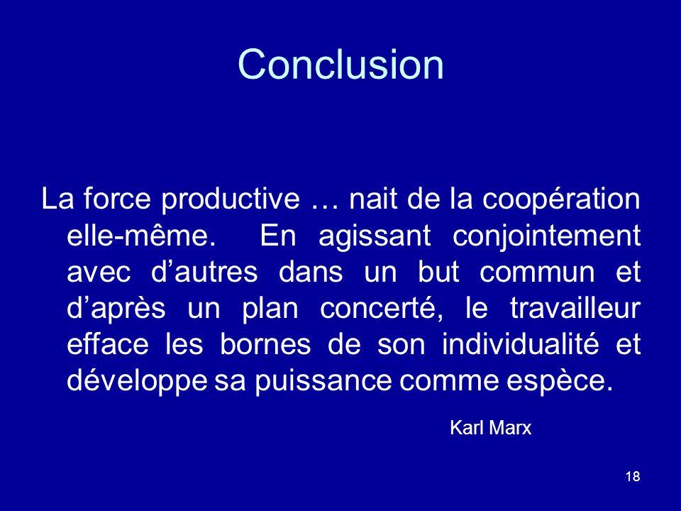 18 Conclusion La force productive … nait de la coopération elle-même. En agissant conjointement avec dautres dans un but commun et daprès un plan conc