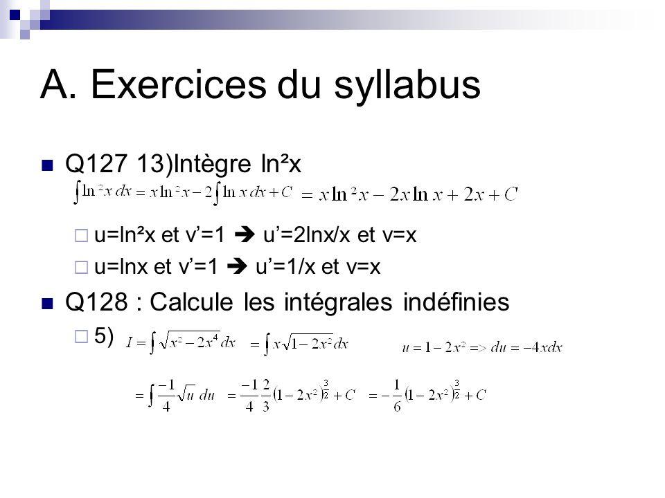 A. Exercices du syllabus 8) 11)