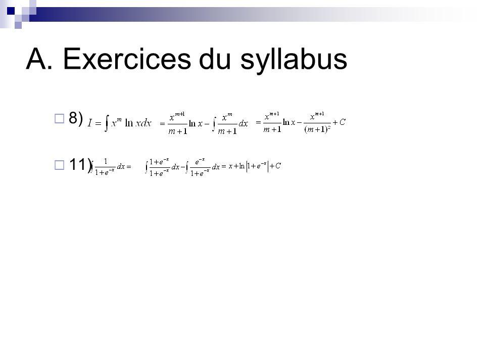 A. Exercices du syllabus Q131 1) Dessiner lallure de la primitive de f qui sannule en x=0