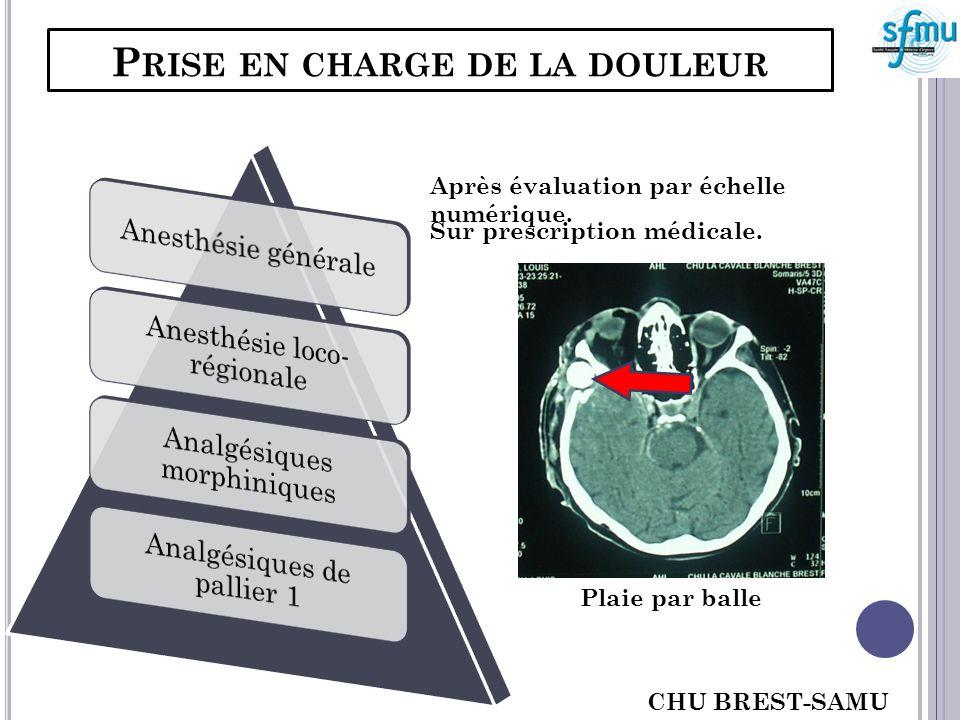 P RISE EN CHARGE DE LA DOULEUR Après évaluation par échelle numérique. Sur prescription médicale. Plaie par balle CHU BREST-SAMU 29