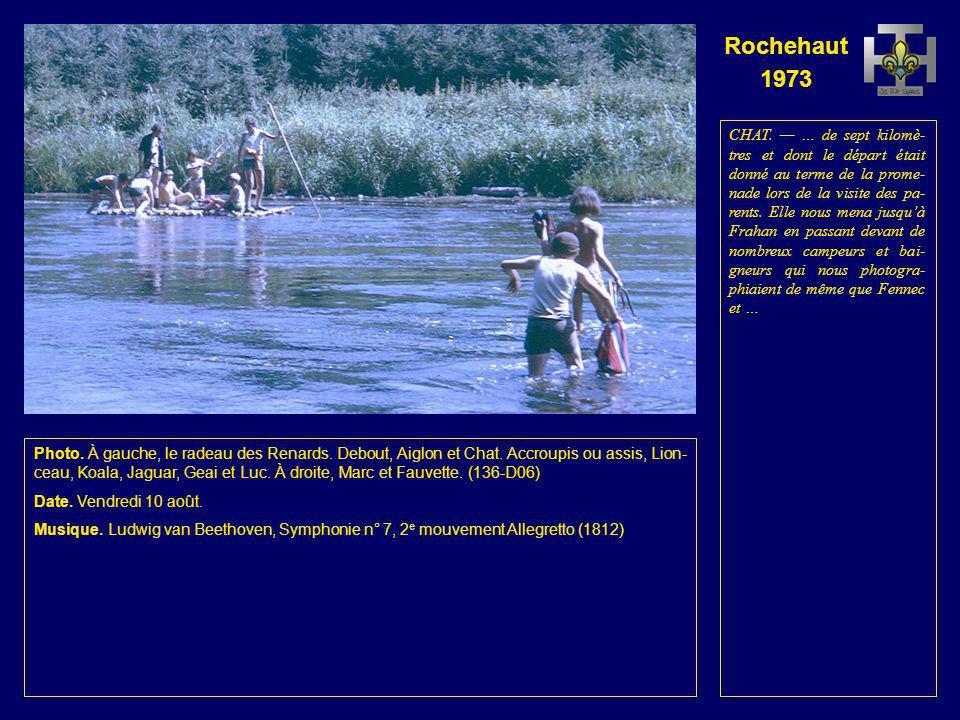 Rochehaut 1973 Photo. À gauche, le radeau des Aigles.