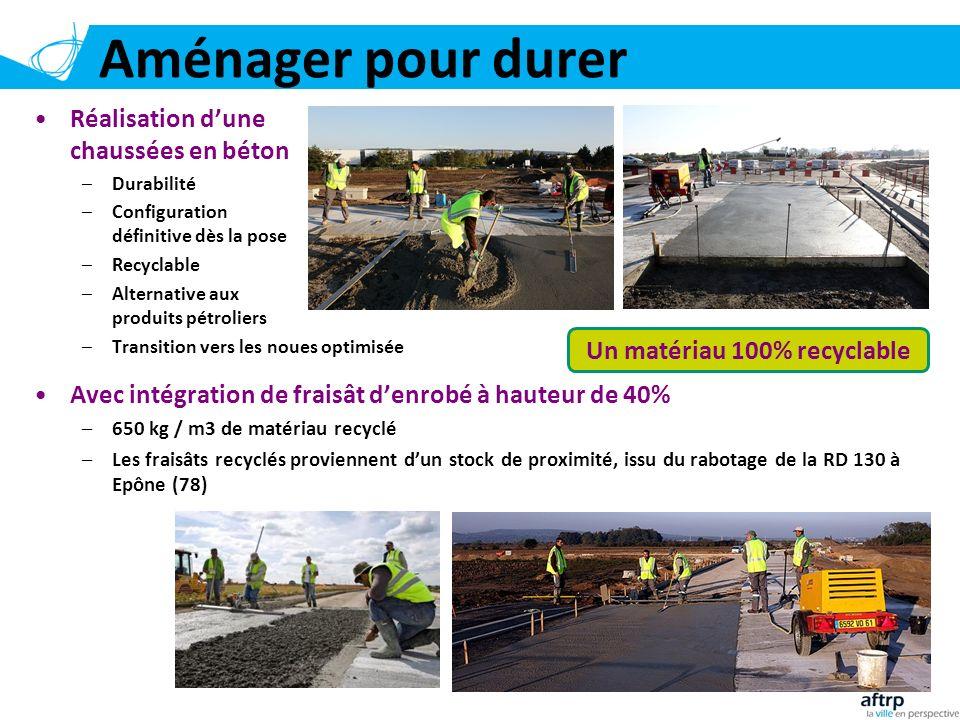 Aménager pour durer 10 Réalisation dune chaussées en béton –Durabilité –Configuration définitive dès la pose –Recyclable –Alternative aux produits pét
