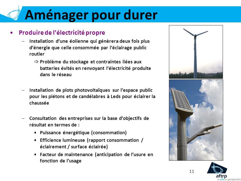 Aménager pour durer 11 Produire de lélectricité propre –Installation dune éolienne qui génèrera deux fois plus dénergie que celle consommée par léclai