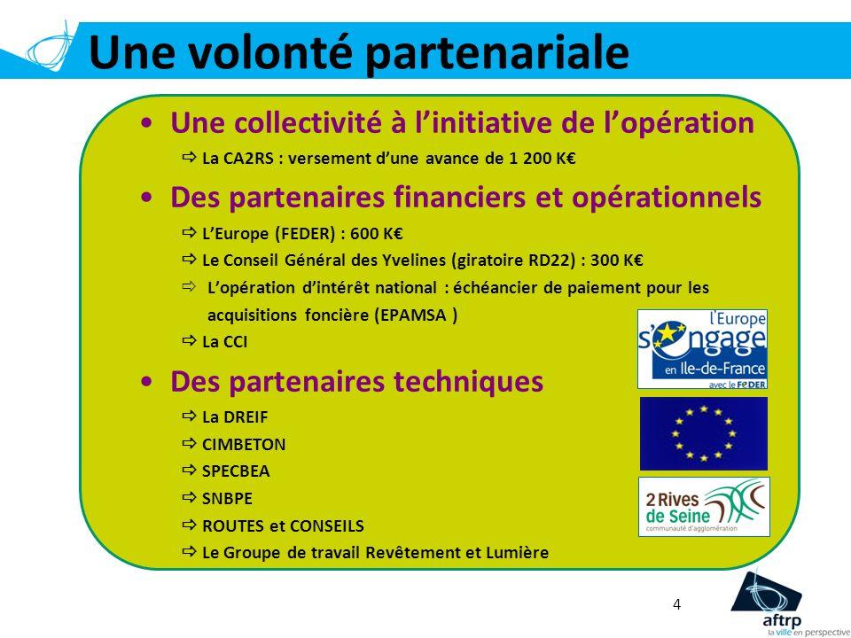 4 Une volonté partenariale Une collectivité à linitiative de lopération La CA2RS : versement dune avance de 1 200 K Des partenaires financiers et opér