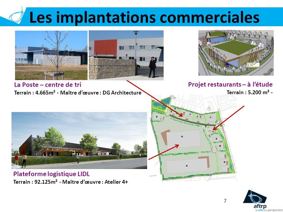 Les implantations commerciales 7 La Poste – centre de tri Terrain : 4.665m² - Maître dœuvre : DG Architecture Plateforme logistique LIDL Terrain : 92.