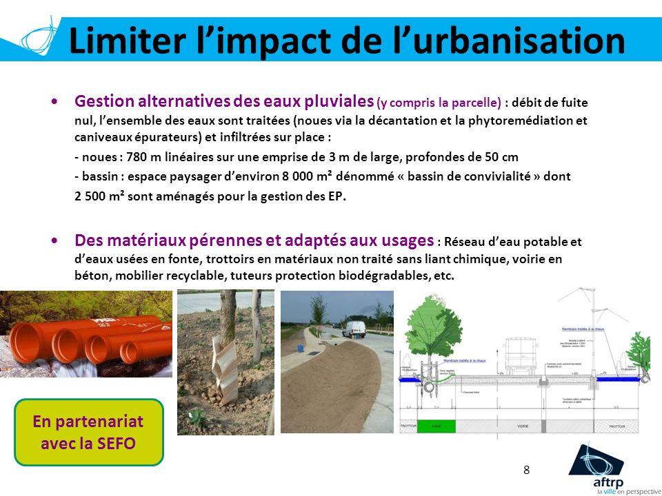 Limiter limpact de lurbanisation 8 Gestion alternatives des eaux pluviales (y compris la parcelle) : débit de fuite nul, lensemble des eaux sont trait