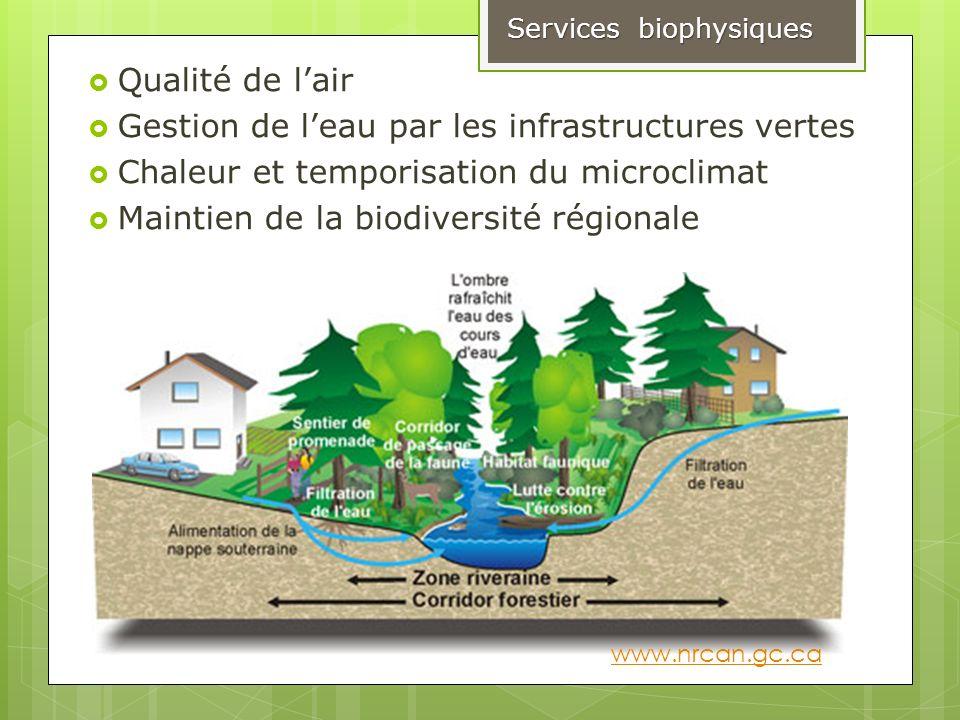 Qualité de lair Gestion de leau par les infrastructures vertes Chaleur et temporisation du microclimat Maintien de la biodiversité régionale Services