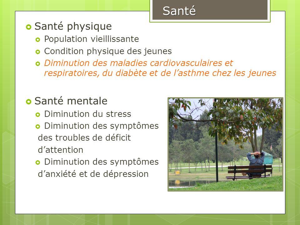 Santé physique Population vieillissante Condition physique des jeunes Diminution des maladies cardiovasculaires et respiratoires, du diabète et de las
