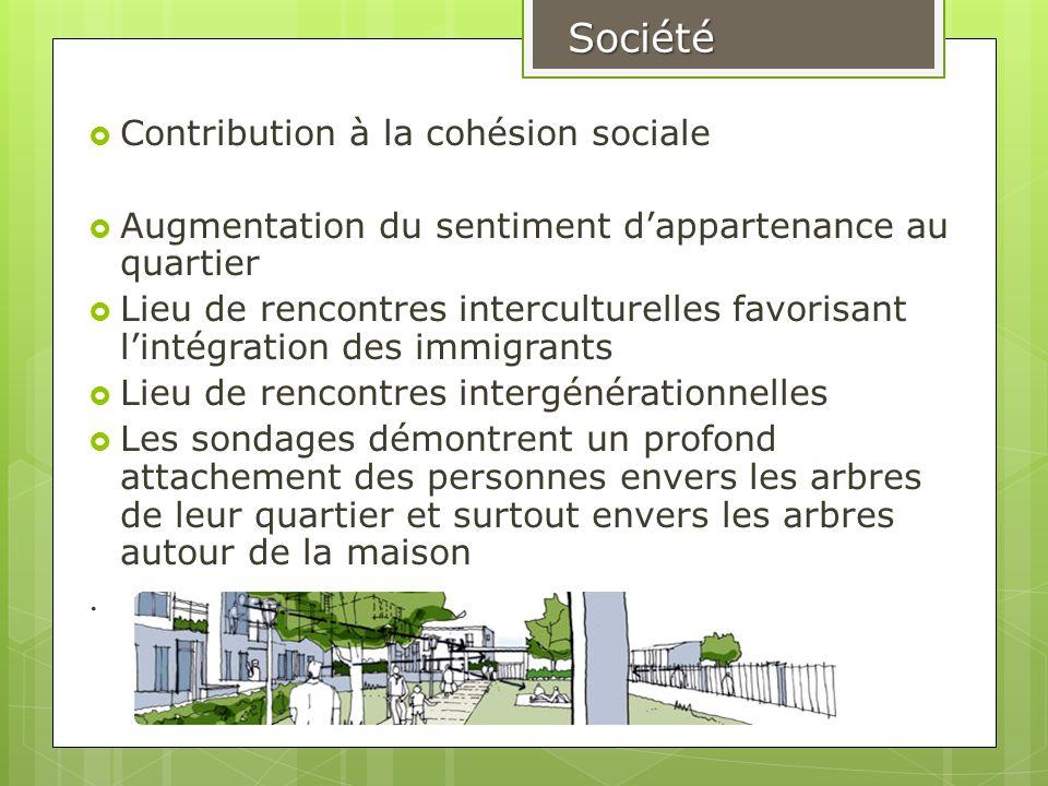 Contribution à la cohésion sociale Augmentation du sentiment dappartenance au quartier Lieu de rencontres interculturelles favorisant lintégration des