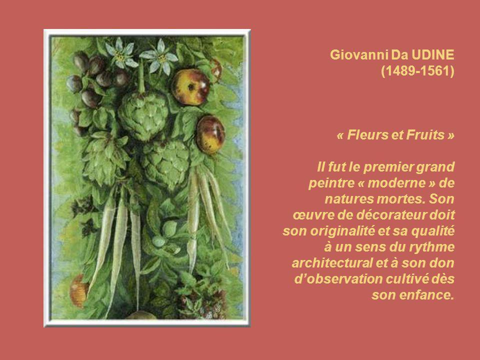 Giovanni Da UDINE (1489-1561) « Fleurs et Fruits » Il fut le premier grand peintre « moderne » de natures mortes.