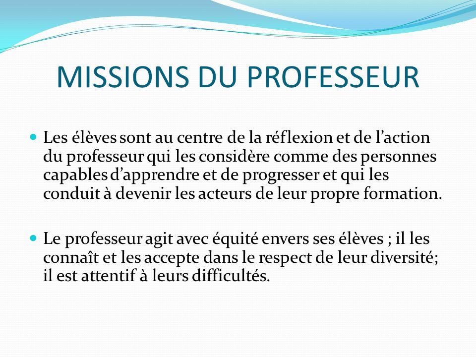 MISSIONS DU PROFESSEUR Au sein de la communauté éducative, le professeur exerce son métier en liaison avec dautres, dans le cadre des équipes.