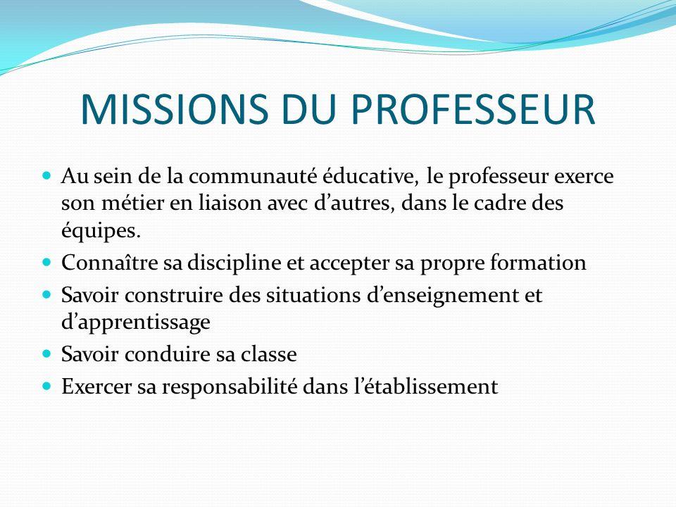 MISSIONS DU PROFESSEUR Au sein de la communauté éducative, le professeur exerce son métier en liaison avec dautres, dans le cadre des équipes. Connaît