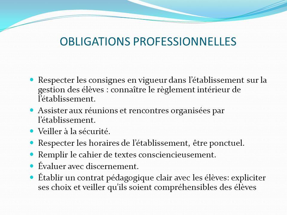 OBLIGATIONS PROFESSIONNELLES Respecter les consignes en vigueur dans létablissement sur la gestion des élèves : connaître le règlement intérieur de lé
