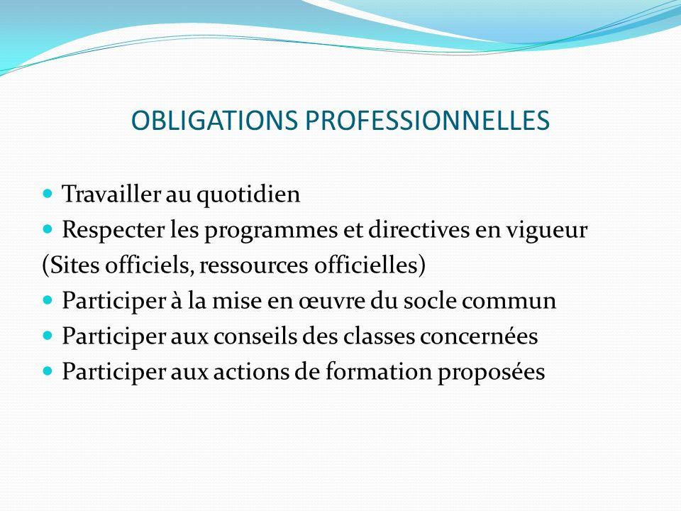 OBLIGATIONS PROFESSIONNELLES Travailler au quotidien Respecter les programmes et directives en vigueur (Sites officiels, ressources officielles) Parti
