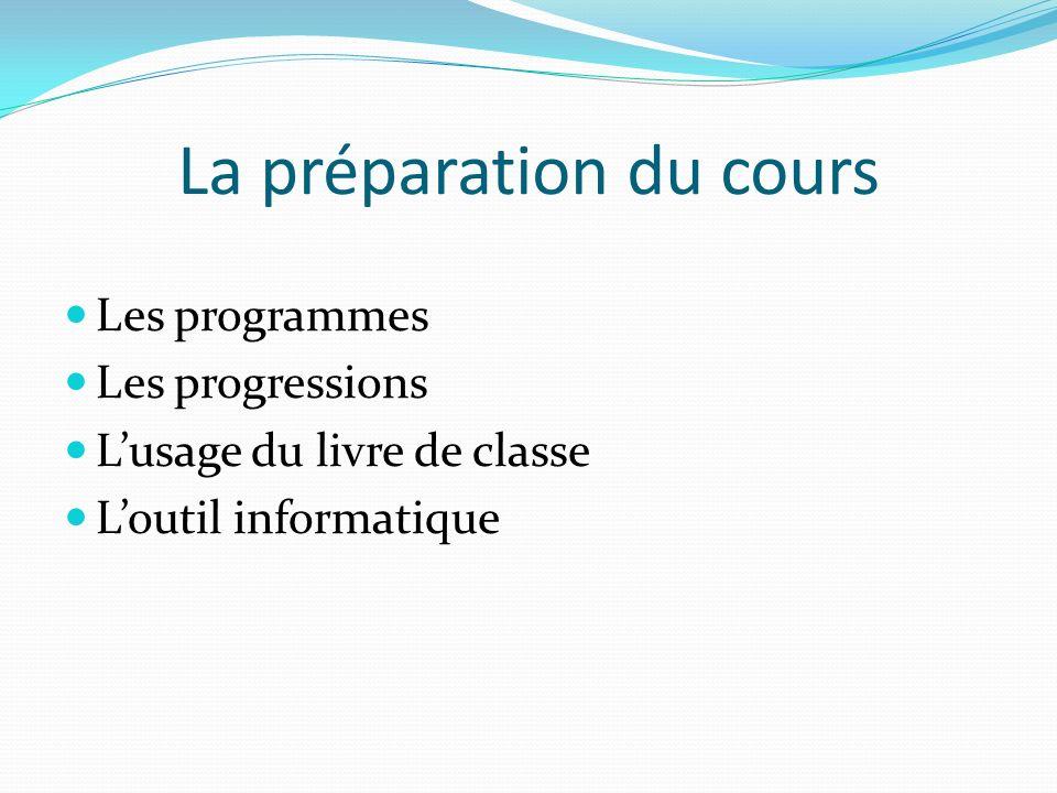 La préparation du cours Les programmes Les progressions Lusage du livre de classe Loutil informatique
