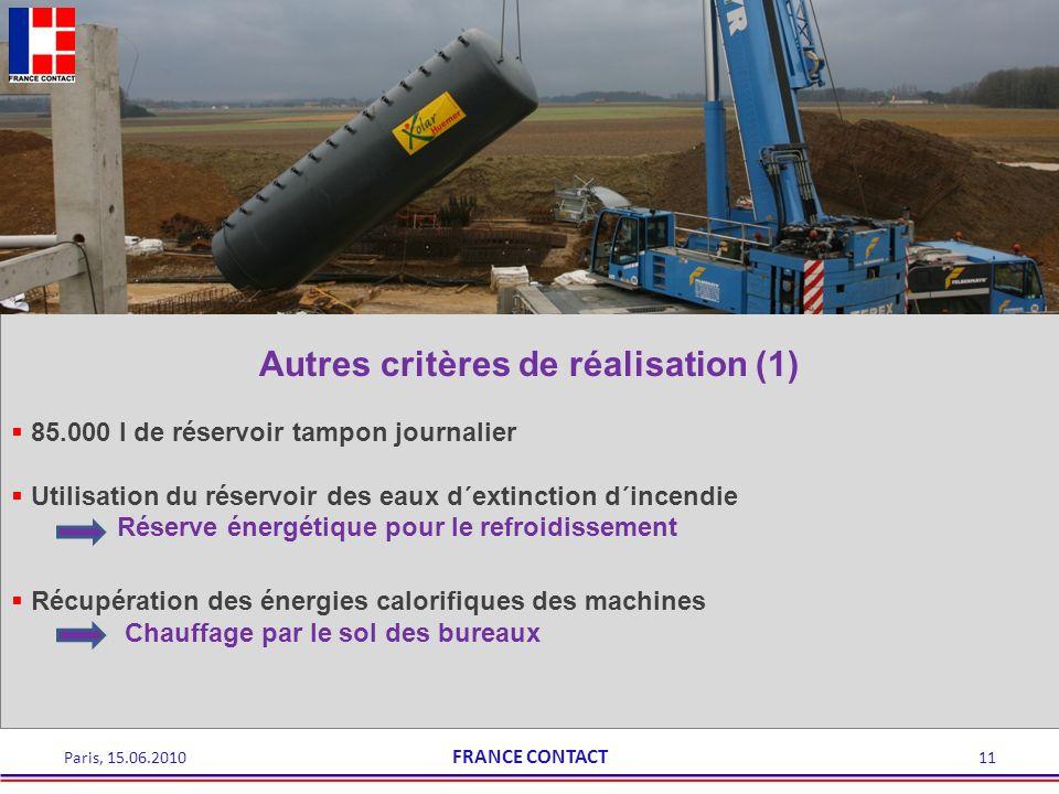 11Paris, 15.06.2010 Autres critères de réalisation (1) 85.000 l de réservoir tampon journalier Utilisation du réservoir des eaux d´extinction d´incend