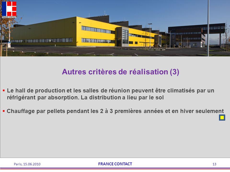 Autres critères de réalisation (3) Le hall de production et les salles de réunion peuvent être climatisés par un réfrigérant par absorption. La distri