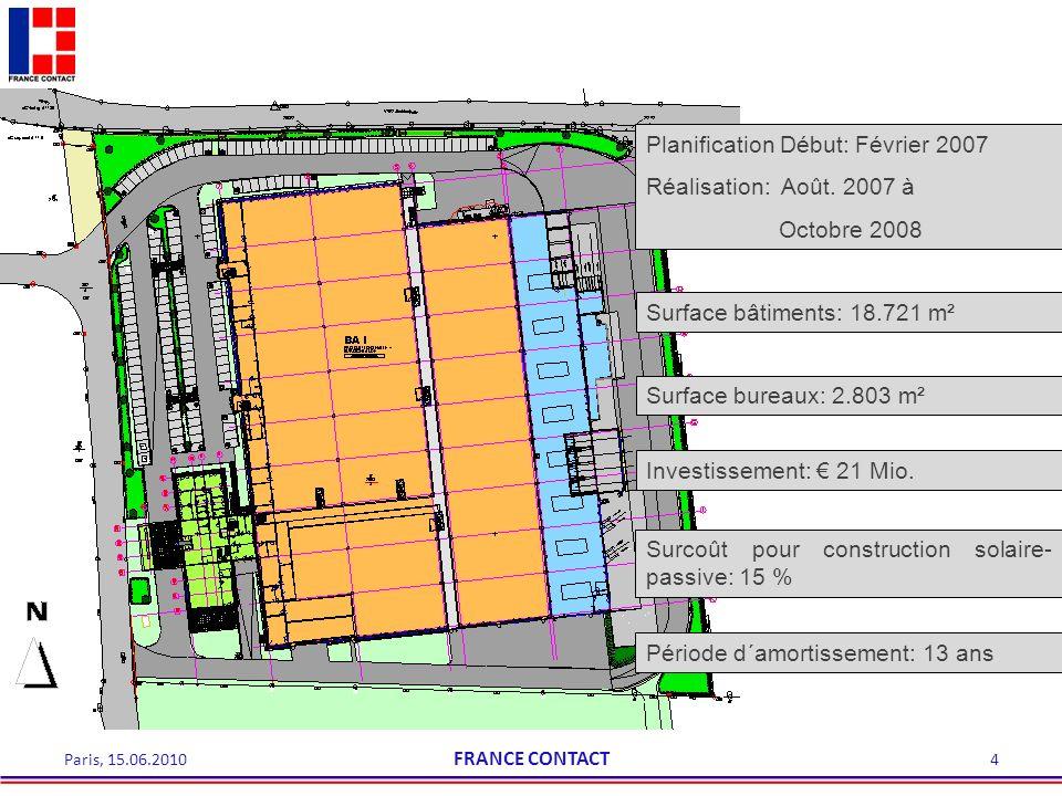 Surface bâtiments: 18.721 m² Planification Début: Février 2007 Réalisation: Août. 2007 à Octobre 2008 Investissement: 21 Mio. Surcoût pour constructio