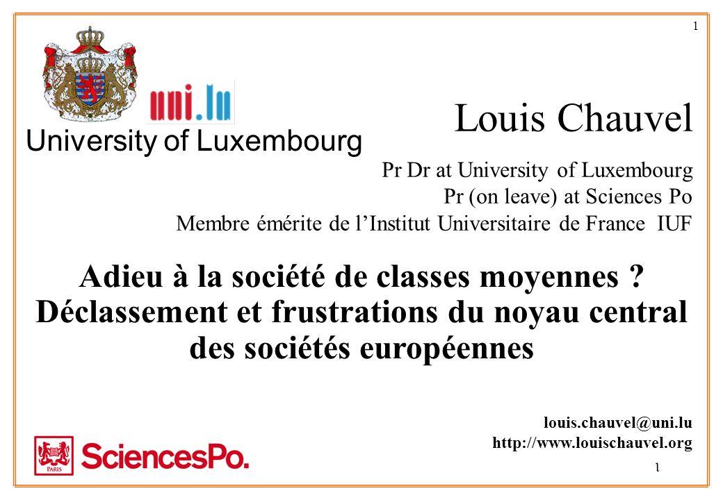 1 Adieu à la société de classes moyennes ? Déclassement et frustrations du noyau central des sociétés européennes 1 Louis Chauvel Pr Dr at University