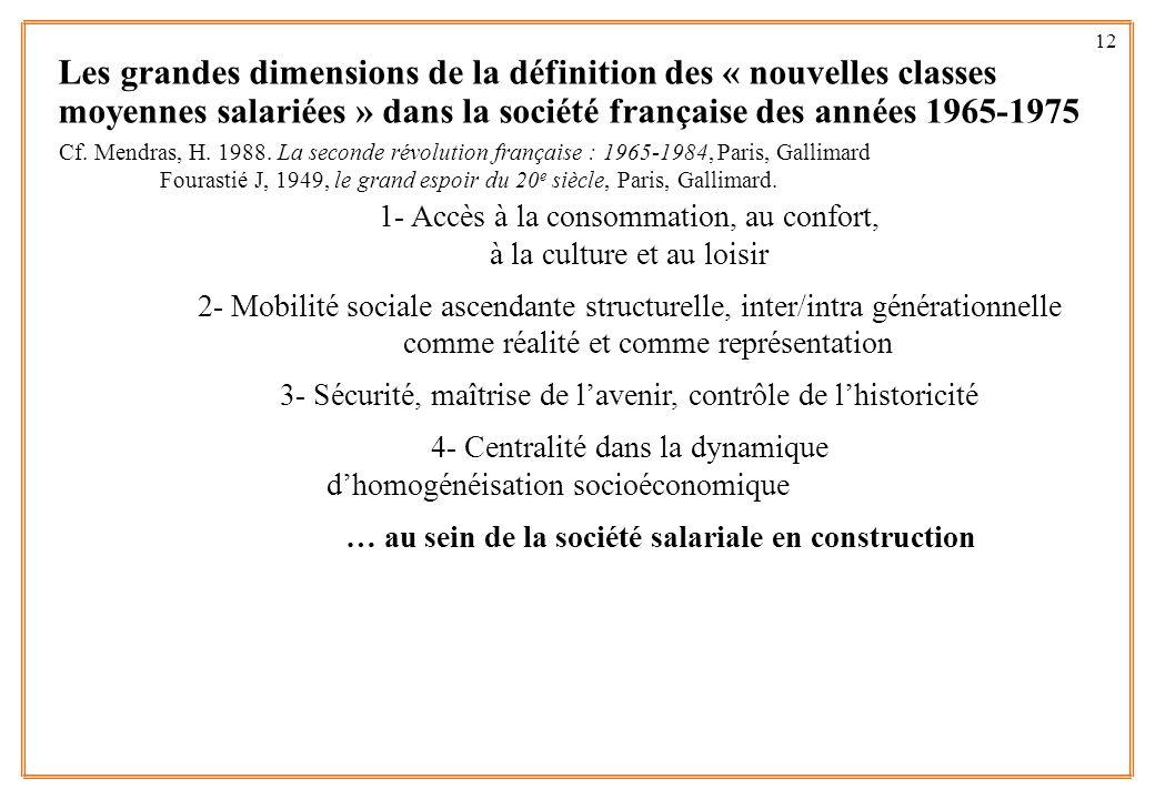 12 Les grandes dimensions de la définition des « nouvelles classes moyennes salariées » dans la société française des années 1965-1975 1- Accès à la c