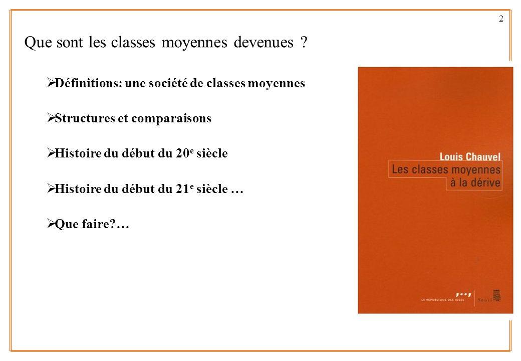 2 Que sont les classes moyennes devenues ? Définitions: une société de classes moyennes ? Structures et comparaisons Histoire du début du 20 e siècle