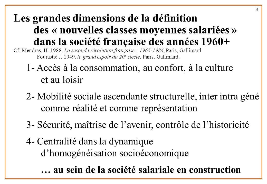 3 Les grandes dimensions de la définition des « nouvelles classes moyennes salariées » dans la société française des années 1960+ 1- Accès à la consom