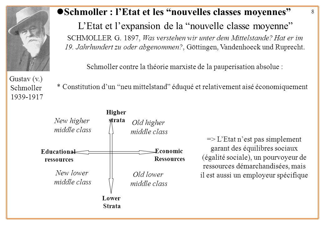 8 LEtat et lexpansion de la nouvelle classe moyenne SCHMOLLER G. 1897, Was verstehen wir unter dem Mittelstande? Hat er im 19. Jahrhundert zu oder abg