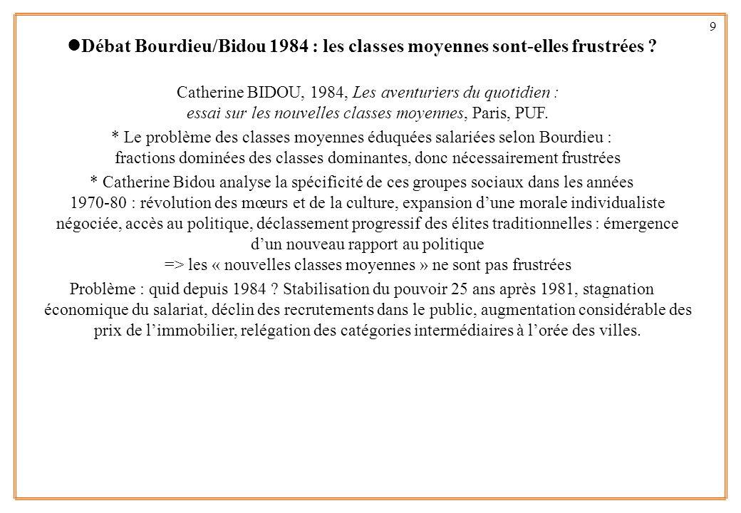 9 lDébat Bourdieu/Bidou 1984 : les classes moyennes sont-elles frustrées ? Catherine BIDOU, 1984, Les aventuriers du quotidien : essai sur les nouvell