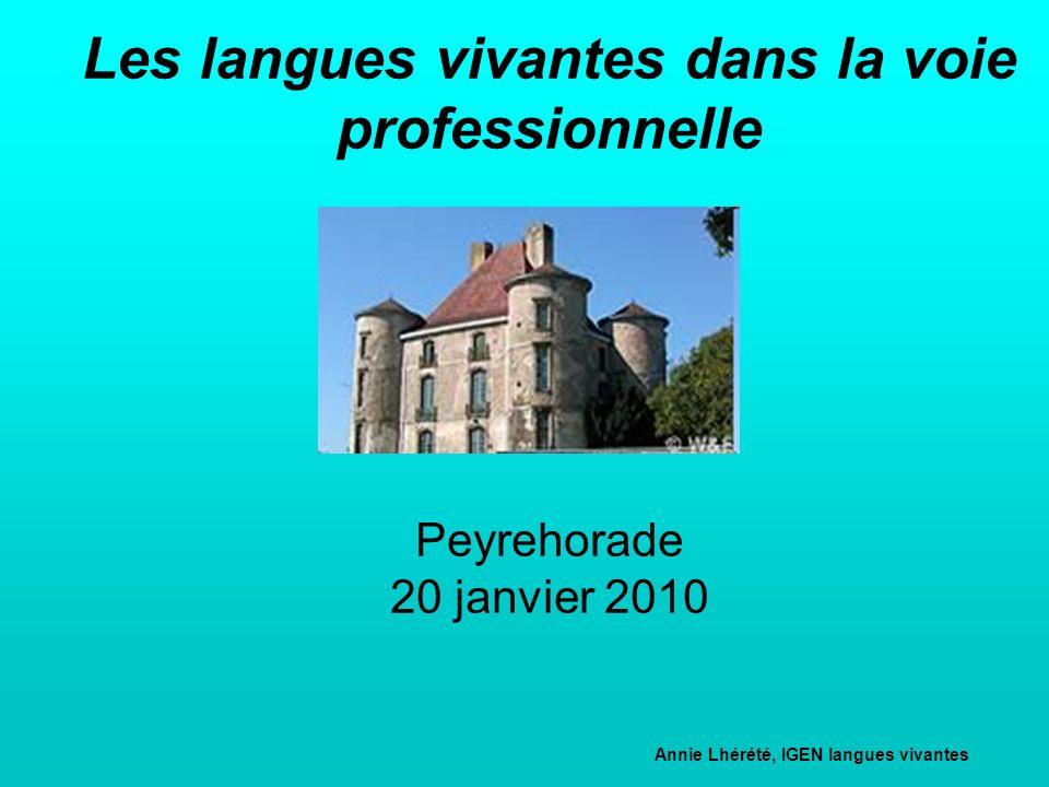 Les langues vivantes dans la voie professionnelle Peyrehorade 20 janvier 2010 Annie Lhérété, IGEN langues vivantes Correspondante académique de lIGEN