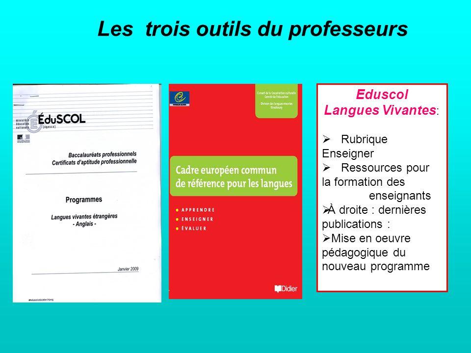 Des ressources en ligne http://eduscol.education.fr/pid23275/ensei gner.htmlhttp://eduscol.education.fr/pid23275/ensei gner.html http://eduscol.education.fr/cid45854/mise- en-oeuvre-pedagogique-du-nouveau- programme-d-enseignement-des-langues- vivantes-dans-la-voie-professionnelle.htmlhttp://eduscol.education.fr/cid45854/mise- en-oeuvre-pedagogique-du-nouveau- programme-d-enseignement-des-langues- vivantes-dans-la-voie-professionnelle.html