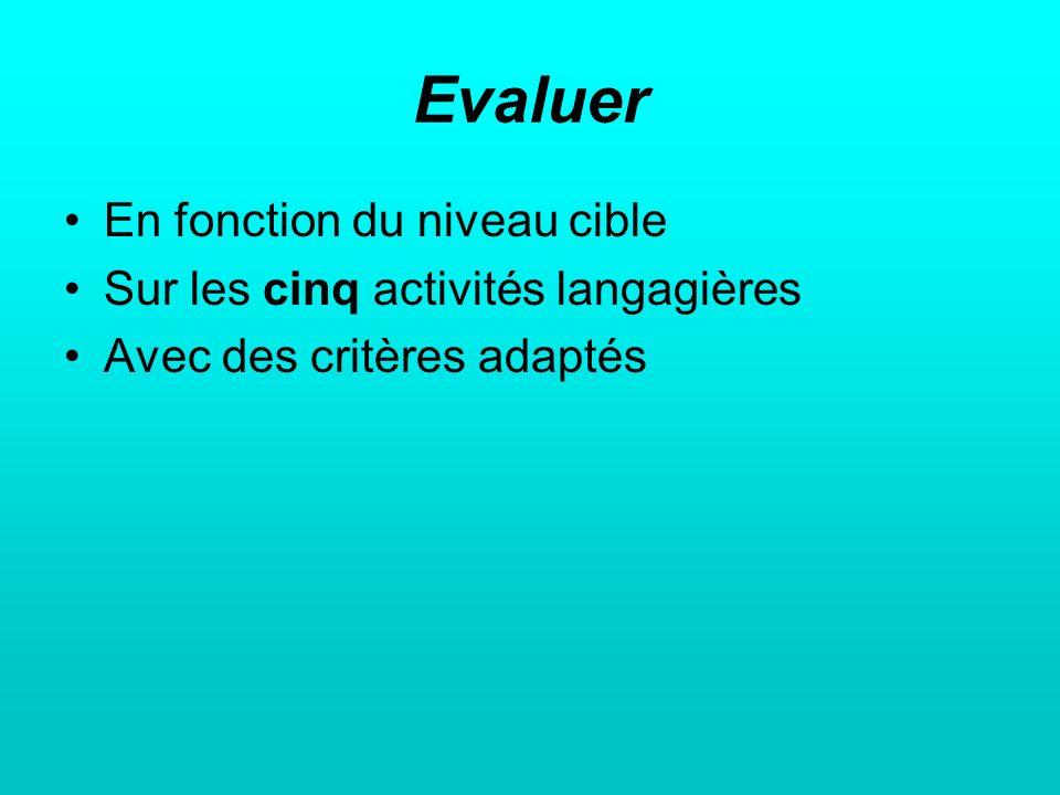 Evaluer En fonction du niveau cible Sur les cinq activités langagières Avec des critères adaptés