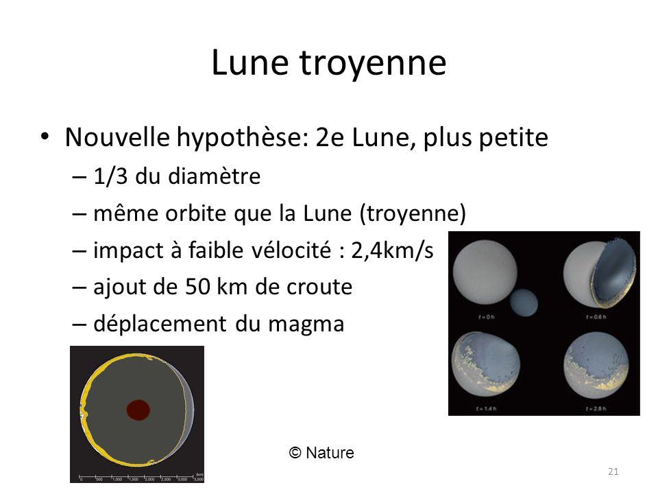 Lune troyenne Nouvelle hypothèse: 2e Lune, plus petite – 1/3 du diamètre – même orbite que la Lune (troyenne) – impact à faible vélocité : 2,4km/s – ajout de 50 km de croute – déplacement du magma 21 © Nature