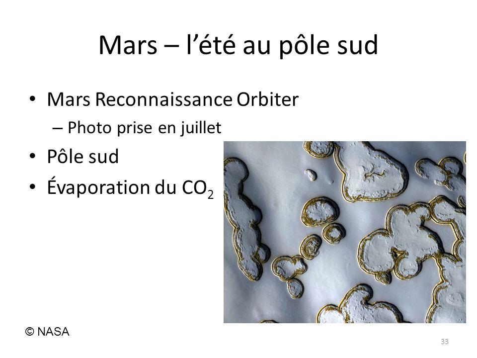 Mars – lété au pôle sud Mars Reconnaissance Orbiter – Photo prise en juillet Pôle sud Évaporation du CO 2 33 © NASA