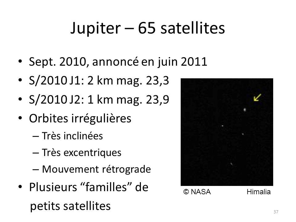 Jupiter – 65 satellites Sept. 2010, annoncé en juin 2011 S/2010 J1: 2 km mag.