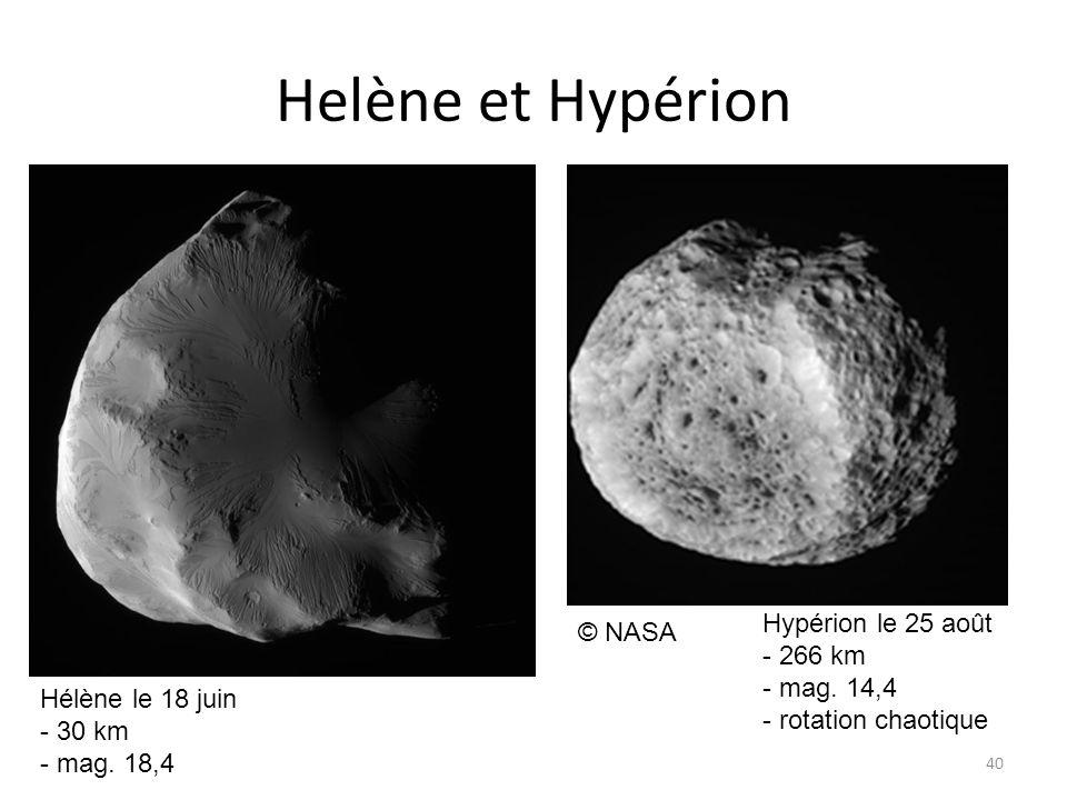Helène et Hypérion 40 © NASA Hélène le 18 juin - 30 km - mag.
