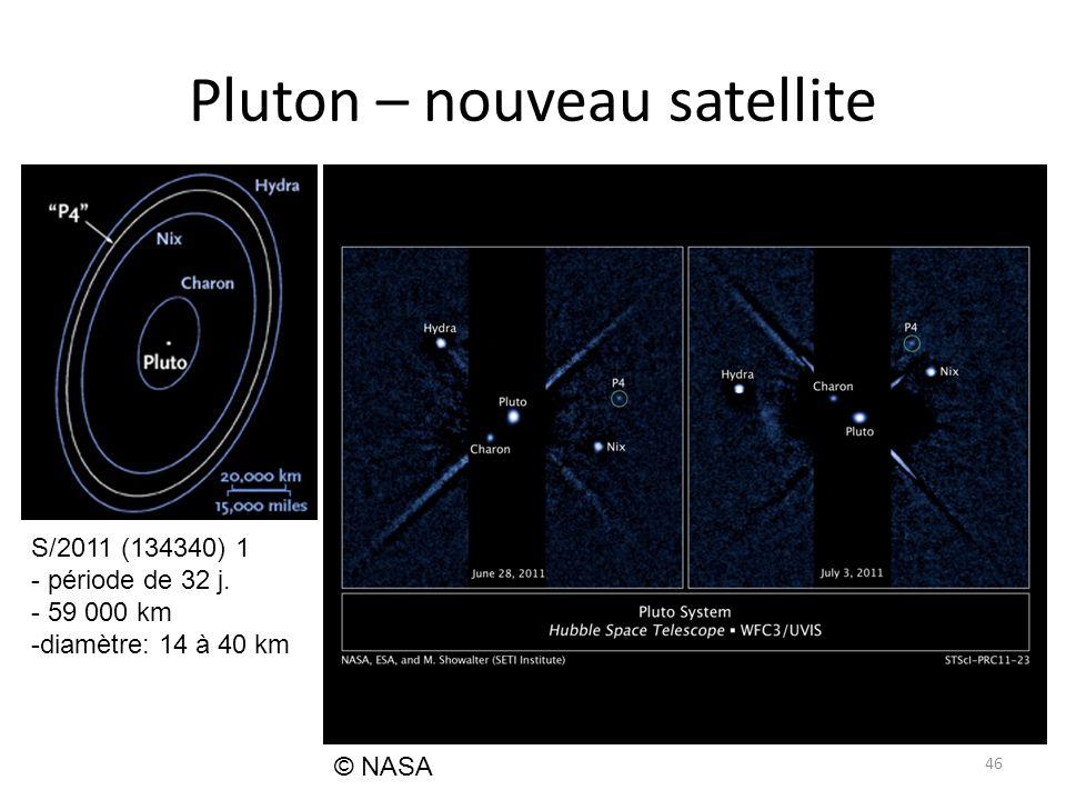 Pluton – nouveau satellite 46 © NASA S/2011 (134340) 1 - période de 32 j.