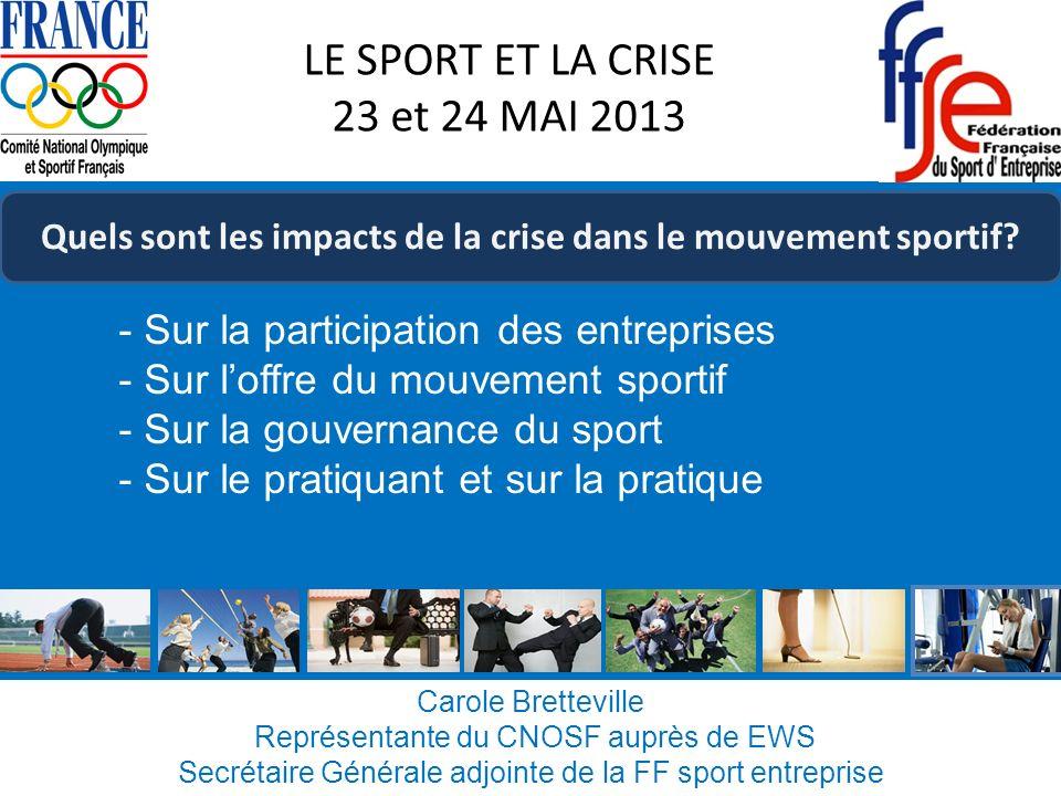 Carole Bretteville Représentante du CNOSF auprès de EWS Secrétaire Générale adjointe de la FF sport entreprise LE SPORT ET LA CRISE 23 et 24 MAI 2013