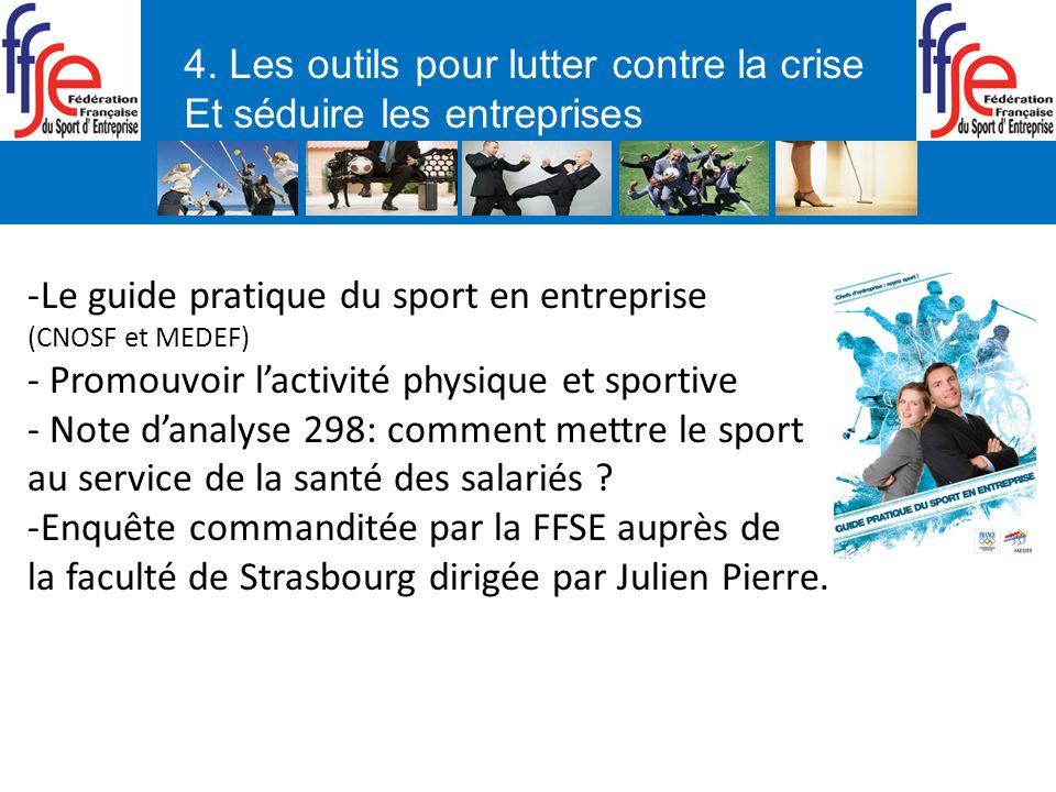 4. Les outils pour lutter contre la crise Et séduire les entreprises -Le guide pratique du sport en entreprise (CNOSF et MEDEF) - Promouvoir lactivité