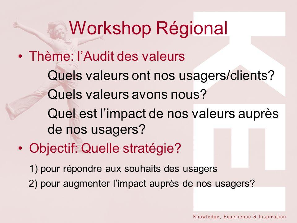 Workshop Régional Thème: lAudit des valeurs Quels valeurs ont nos usagers/clients? Quels valeurs avons nous? Quel est limpact de nos valeurs auprès de