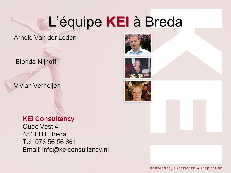 KEI Léquipe KEI à Breda Arnold Van der Leden Bionda Nijhoff Vivian Verheijen KEI Consultancy Oude Vest 4 4811 HT Breda Tel: 076 56 56 661 Email: info@keiconsultancy.nl