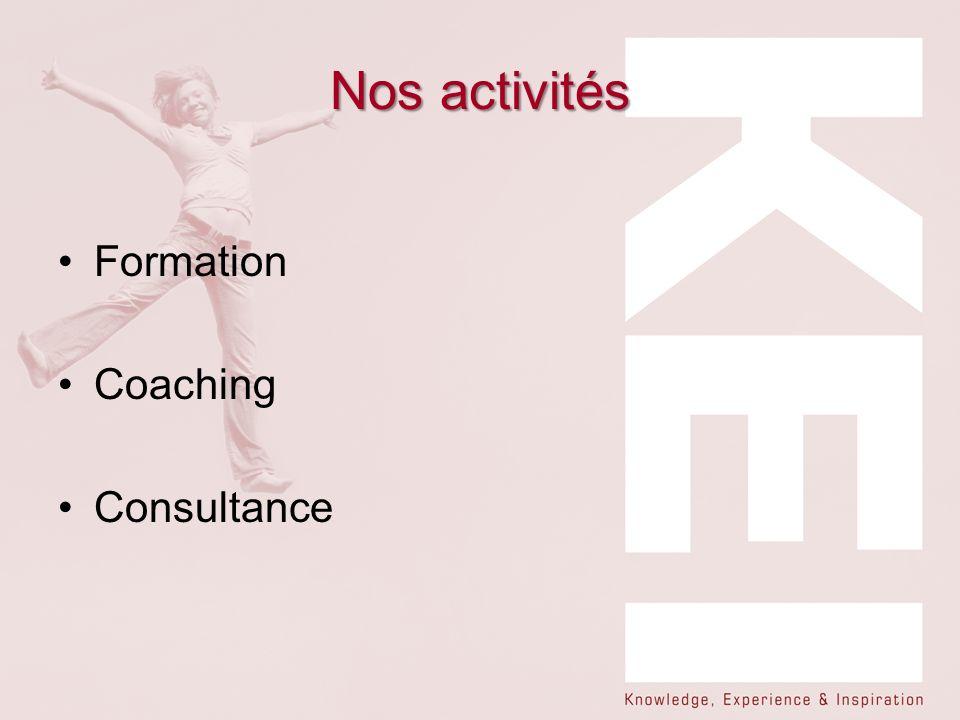 Nos activités Formation Coaching Consultance