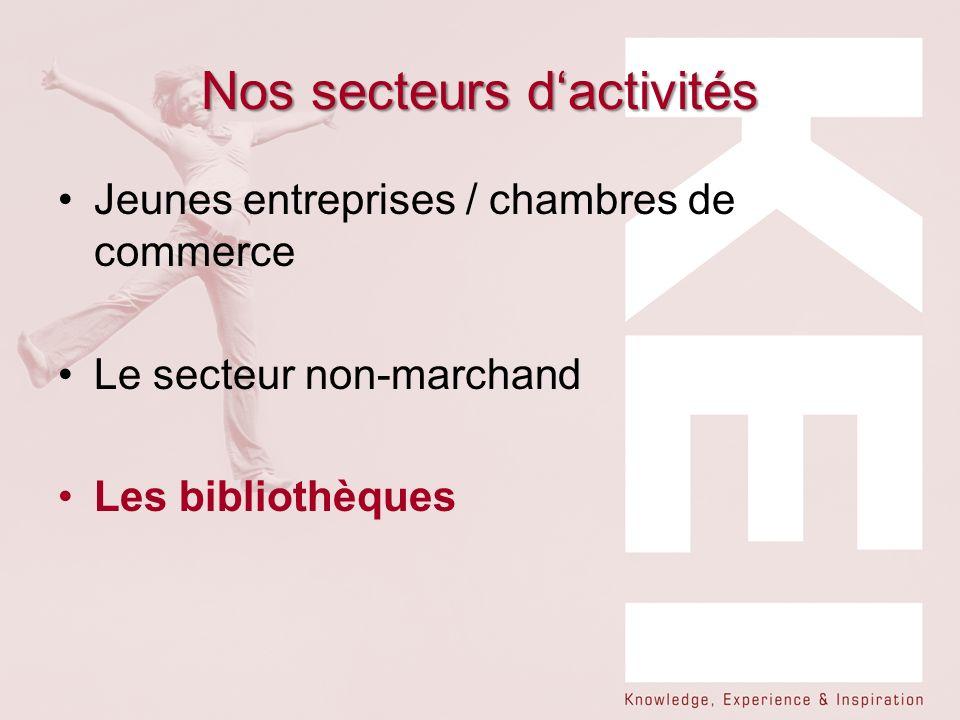 Nos secteurs dactivités Jeunes entreprises / chambres de commerce Le secteur non-marchand Les bibliothèques