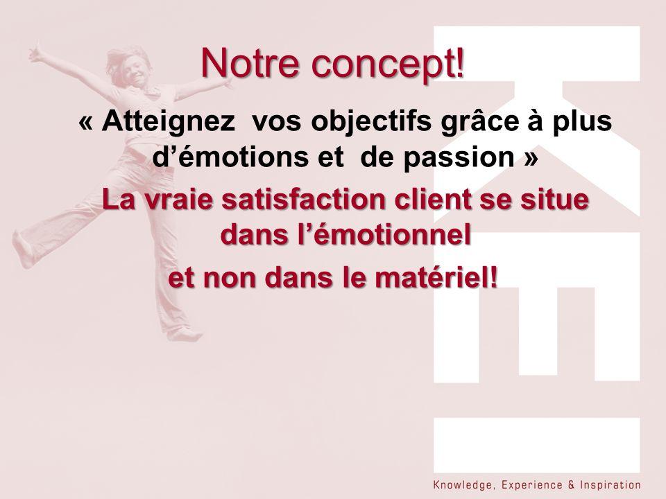 Notre concept! « Atteignez vos objectifs grâce à plus démotions et de passion » La vraie satisfaction client se situe dans lémotionnel et non dans le