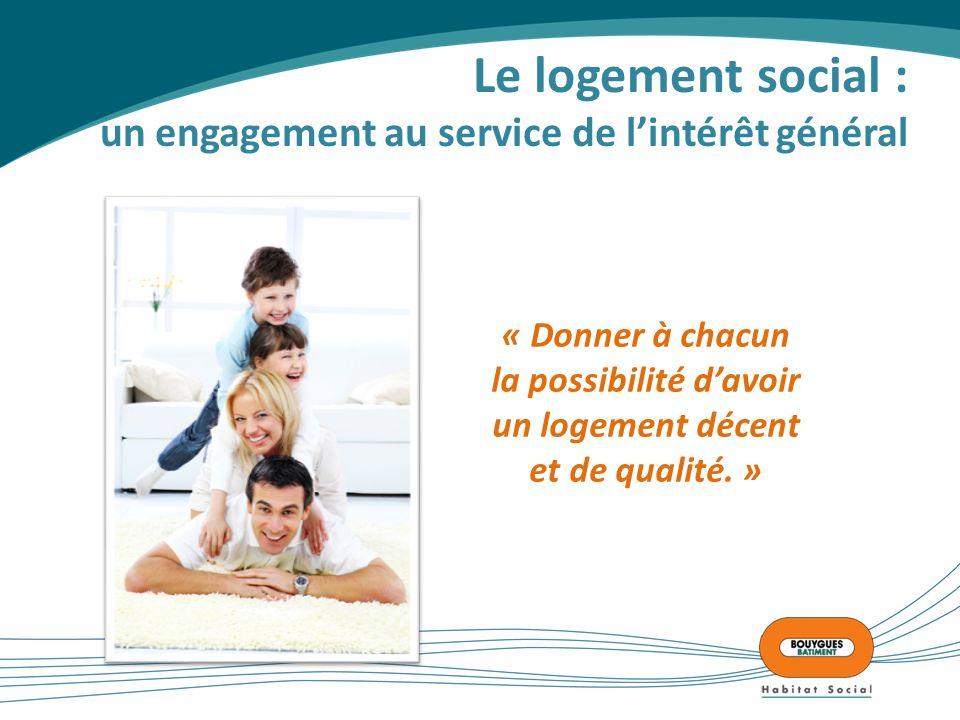Le logement social : un engagement au service de lintérêt général « Donner à chacun la possibilité davoir un logement décent et de qualité.