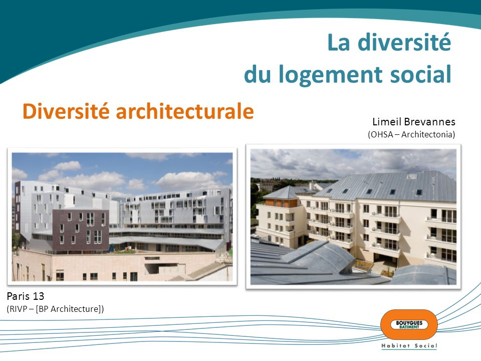 La diversité du logement social Diversité architecturale Paris 13 (RIVP – [BP Architecture]) Limeil Brevannes (OHSA – Architectonia)