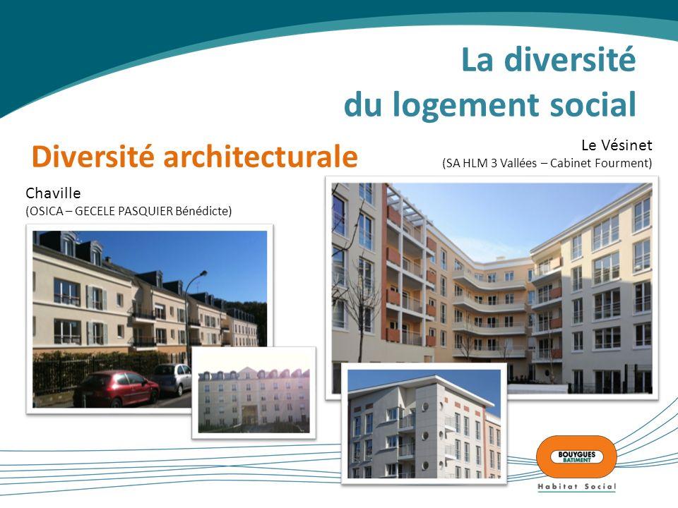 La diversité du logement social Diversité architecturale Chaville (OSICA – GECELE PASQUIER Bénédicte) Le Vésinet (SA HLM 3 Vallées – Cabinet Fourment)