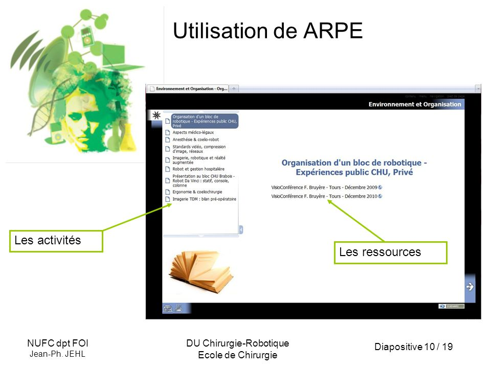 Diapositive 10 / 19 NUFC dpt FOI Jean-Ph. JEHL DU Chirurgie-Robotique Ecole de Chirurgie Utilisation de ARPE Les activités Les ressources