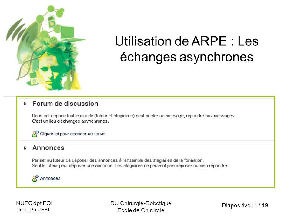 Diapositive 11 / 19 NUFC dpt FOI Jean-Ph. JEHL DU Chirurgie-Robotique Ecole de Chirurgie Utilisation de ARPE : Les échanges asynchrones