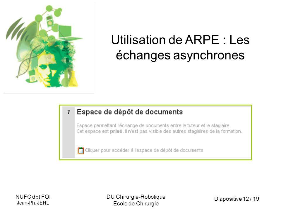 Diapositive 12 / 19 NUFC dpt FOI Jean-Ph. JEHL DU Chirurgie-Robotique Ecole de Chirurgie Utilisation de ARPE : Les échanges asynchrones