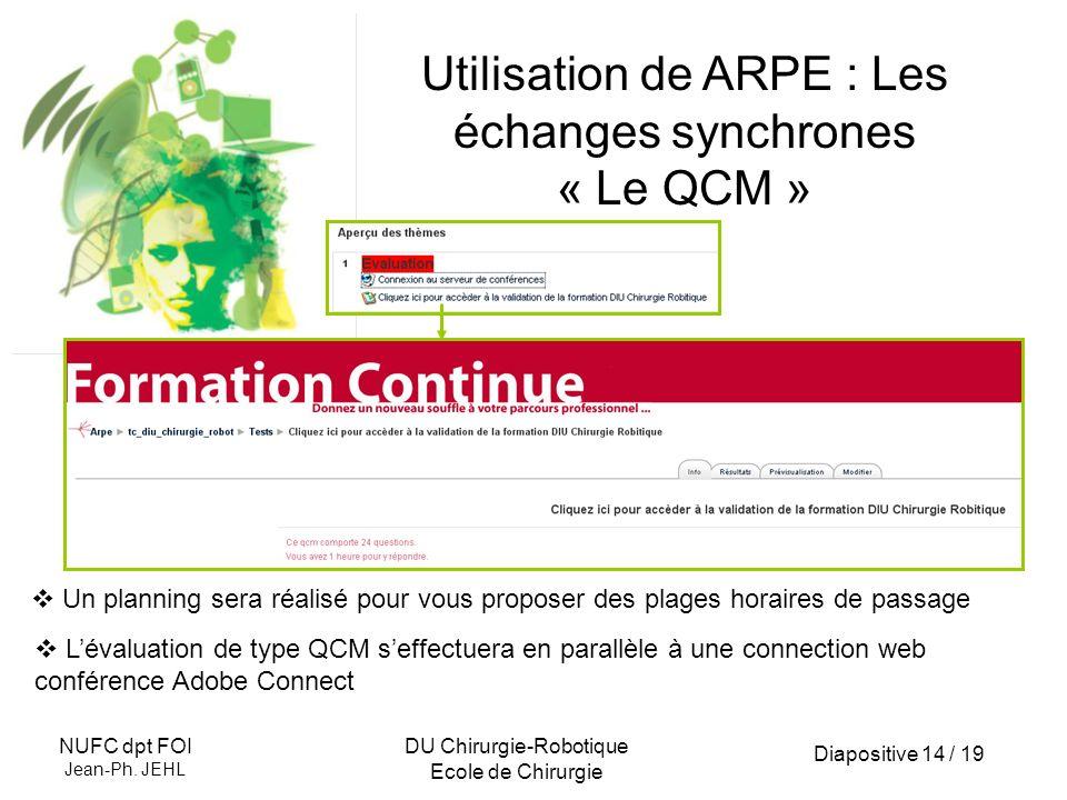 Diapositive 14 / 19 NUFC dpt FOI Jean-Ph. JEHL DU Chirurgie-Robotique Ecole de Chirurgie Utilisation de ARPE : Les échanges synchrones « Le QCM » Un p